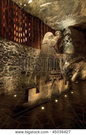 Salt Sculpture Depicting Nicolaus Copernicus In The Wieliczka Salt Mine, Poland.