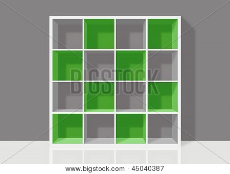 White Empty Square Bookshelf With Green Elements On Grey Wall Background