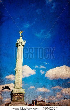 retro style Place de la Bastille in Paris, France