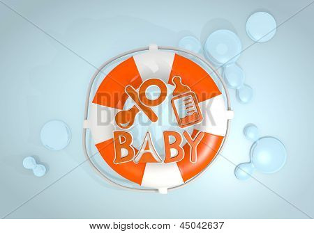 3d render of a isolated baby sign rescued by a lifesafer