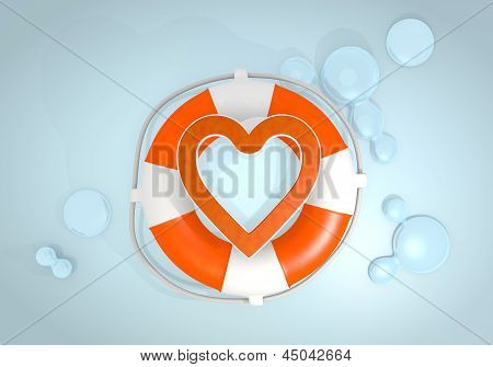 3d graphic of a isolated heart icon rescued by a lifesafer
