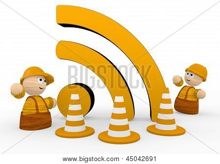 3d graphic of a cute wifi symbol  with two cute 3d characters