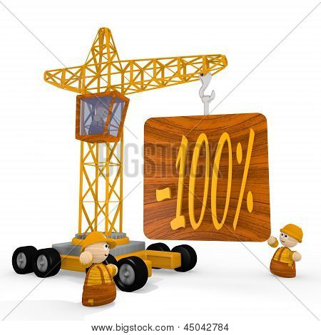 3d render of a childish discount symbol with a crane