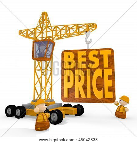 Illustration of a cute best price icon with a crane