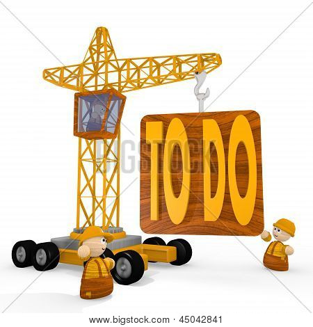 3d graphic of a childish to do symbol with a crane