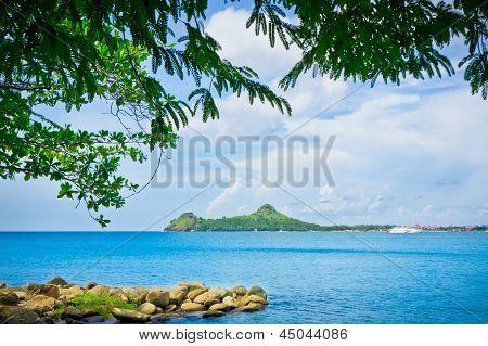 Beautiful Beach In Saint Lucia, Caribbean Islands