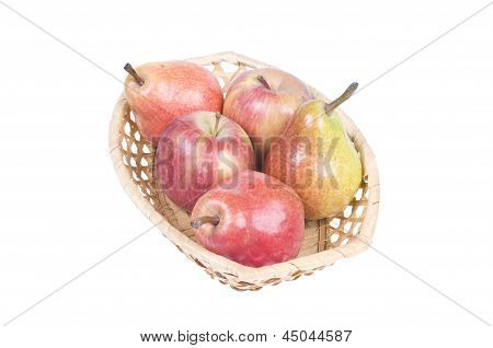 Basket With Apples And Pears