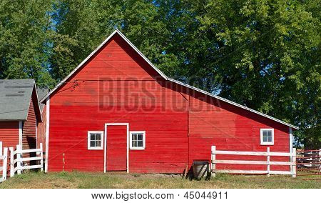 Red Wisconsin Barn With Door And Three Windows