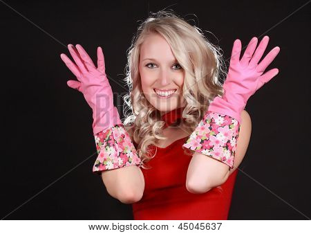 Young Blond Woman Wearing Latex Gloves