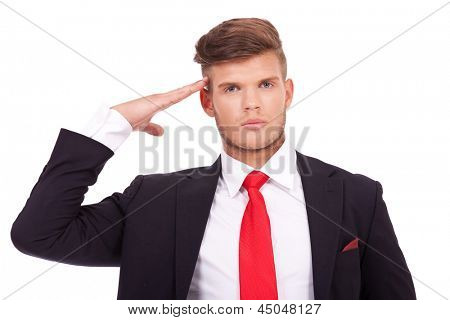 young business man saluting you with his hand at the temple. isolated on white background