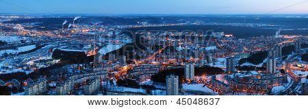 Vilnius City Night Aerial View