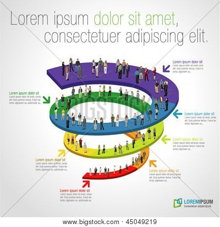 Template for advertising brochure with business people on spiral work flow