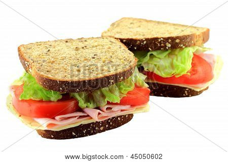 Ham And Cheese Sandwich On Whole Grains Bread.