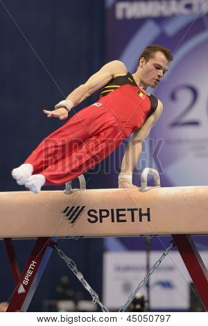 MOSCOW, RUSSIA - APRIL 20: Donna Donny Truyens, Belgium performs exercise on pommel horse in final of 5th European Championships in Artistic Gymnastics in Moscow, Russia on April 20, 2013