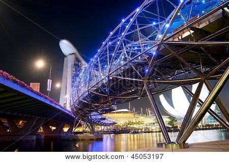 Helix Bridge At Night