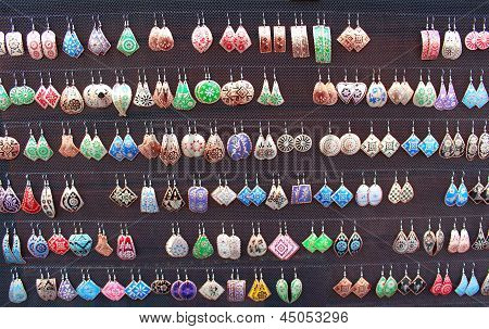 Colorful Earrings At The Bazaar
