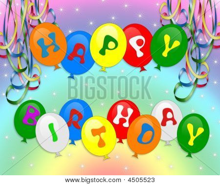 Happy Birthday Balloons Invitation Background