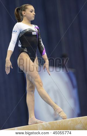 MOSCOW, RUSSIA - APRIL 21: Larisa Andreea Iordache, Romania performs exercise on balance beam in final of 5th European Championships in Artistic Gymnastics in Moscow, Russia on April 21, 2013