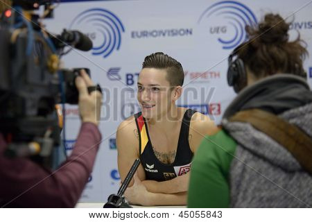 MOSCOW, RUSSIA - APRIL 21: Marcel Nguyen, Germany talk with press in final of 5th European Championships in Artistic Gymnastics in Moscow, Russia on April 21, 2013