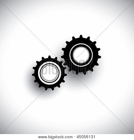 Vector Illustration Of Cogwheels In 3D Moving In Tandem Together