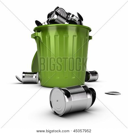 Waste Concept, Overflowing Garbage Bin