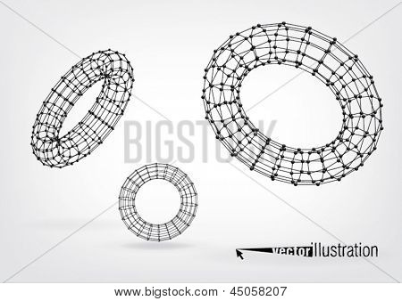 Composition of wireframe elements in the form of  torus with vertices in different perspective