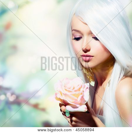 Beautiful Spring Girl With Rose Flower. Fantasy. Fairy with Long White Hair. Romantic Beauty Woman