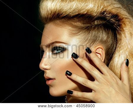 Fashion Rocker Style Model Girl Portrait. Hairstyle. Rocker or Punk Woman Makeup, Hairdo and black Nails. Smoky Eyes
