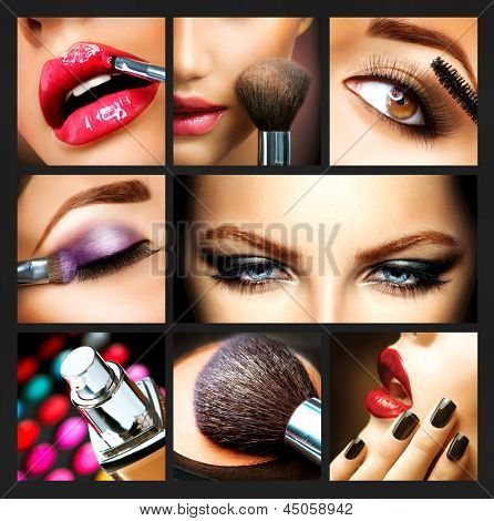 Picture or Photo of Makeup Collage. Professional Make-up Details. Makeover