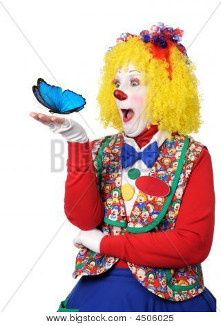 Clown Holding Blue Butterfly