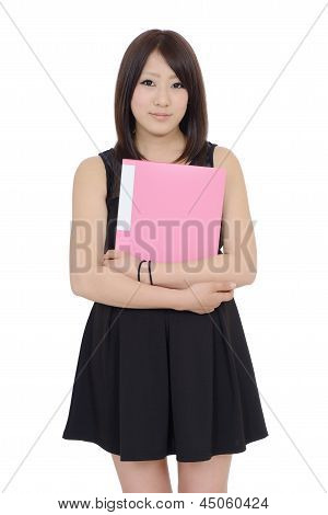 Young asian businesswoman holding file