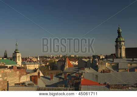 View of the old city of Lviv - the city's rooftops and the Bernardine Monastery