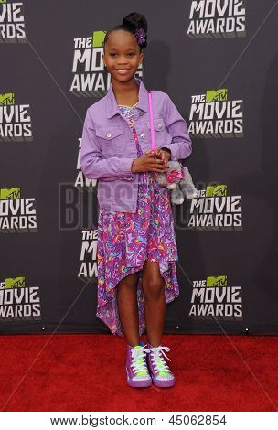 LOS ANGELES - APR 14:  Quvenzhane Wallis arrives to the Mtv Movie Awards 2013  on April 14, 2013 in Culver City, CA.