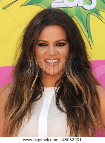 LOS ANGELES - APR 23:  Khloe Kardashian arrives to the Kid's Choice Awards 2013  on April 23, 2013 in Los Angeles, CA.