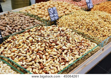 Assortment Of Nuts On Market Stand In Israel