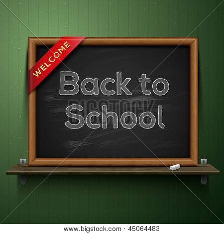 Back to school, blackboard on the shelf