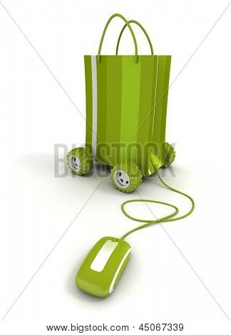 green shopping bag on wheels connected to a computer mouse