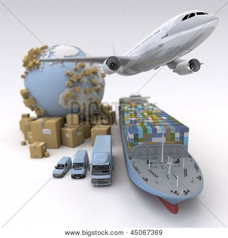 Cargo transportation image with the Earth, cardboard boxes and a whole shipping fleet including cargo ship, plane, truck, lorry, van, etc..