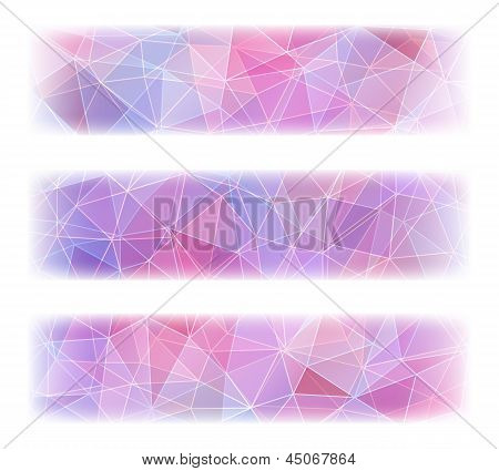 Set of three colorful banners with abstract geometric background