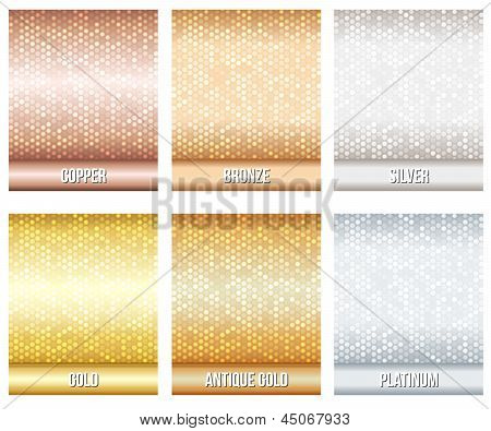 Set of luxury metallic backgrounds.