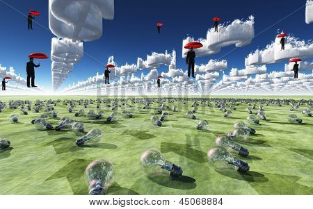 Surreal Scene with men floating in sky above field of light bulbs