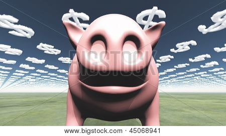 Pig and dollar symbol clouds