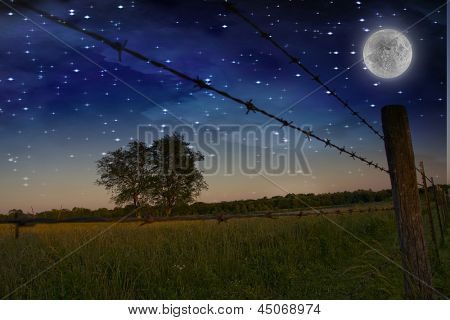 Starry Night with moon and Farmers Fence and field