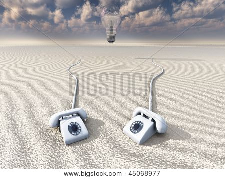 Old Rotary Phones in Barren Landscape