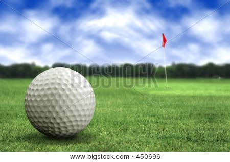 Golf Ball In A Course