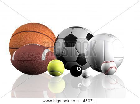 Bolas de esportes sobre branco