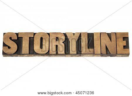texto de palavra - conceito de narração ou narrativa - isolado de enredo em madeira tipo de tipografia vintage