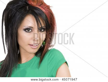 Portrait of a beautiful young stylish woman with funky cool hair.