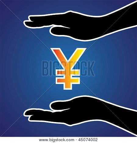 Vector Illustration Of Protecting Or Safeguarding Japanese Yen