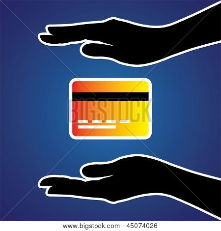 Vector Illustration Of Protecting Or Safeguarding Credit Card